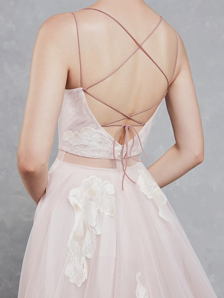A-Line Wedding Dresses Sweetheart Neckline Court Train Lace Tulle Spaghetti Strap Beautiful Back_9