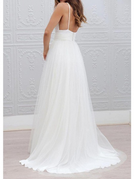 A-Line Wedding Dresses Spaghetti Strap Plunging Neck Floor Length Taffeta Tulle Chiffon Over Satin Sleeveless Country Plus Size_2