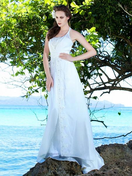 Sheath \ Column Wedding Dresses Straps Sweep \ Brush Train Chiffon Sleeveless_3