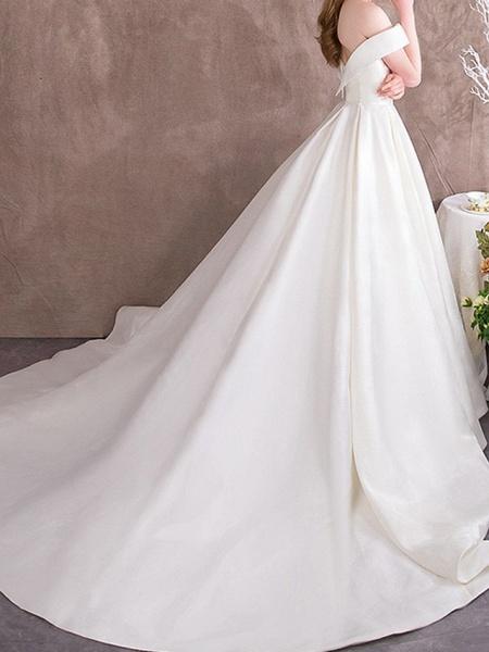 A-Line Wedding Dresses Off Shoulder Sweep \ Brush Train Satin Cap Sleeve Vintage_3