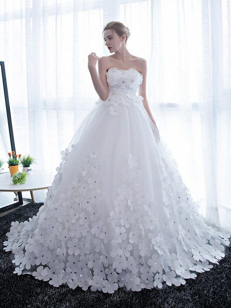 Ball Gown Wedding Dresses Strapless Chapel Train Satin Tulle Strapless Sparkle & Shine_1
