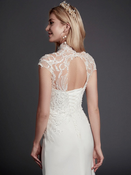 Mermaid \ Trumpet Wedding Dresses High Neck Court Train Lace Satin Sleeveless Sexy See-Through Illusion Detail Backless_7