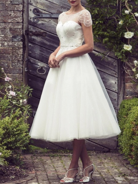 A-Line Wedding Dresses Jewel Neck Tea Length Satin Tulle Short Sleeve Vintage Sexy Wedding Dress in Color See-Through_1