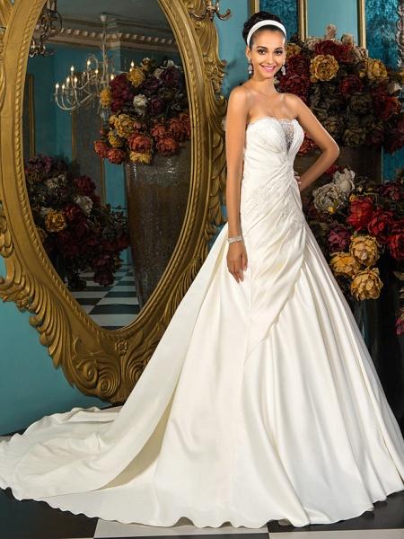 A-Line Wedding Dresses Strapless Court Train Satin Sleeveless_2
