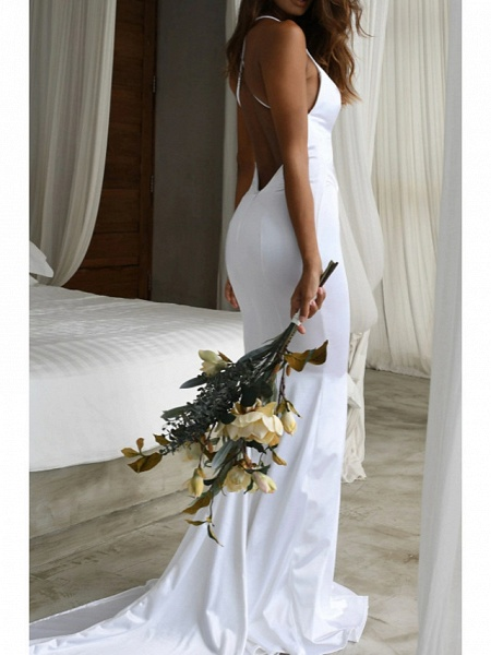 Mermaid \ Trumpet Wedding Dresses V Neck Sweep \ Brush Train Satin Spaghetti Strap Simple Sexy Backless_3