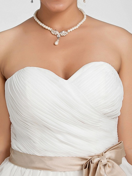 Ball Gown Wedding Dresses Sweetheart Neckline Court Train Chiffon Strapless Simple Vintage Plus Size Backless Cute_8