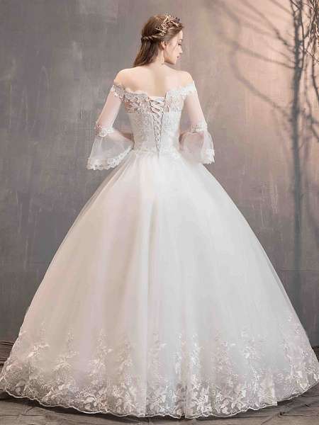 Ball Gown Wedding Dresses Off Shoulder Floor Length Lace Tulle Long Sleeve Romantic Illusion Sleeve_6
