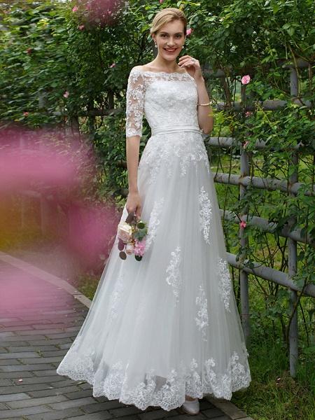 Princess A-Line Wedding Dresses Off Shoulder Floor Length Lace Tulle Half Sleeve Floral Lace_1