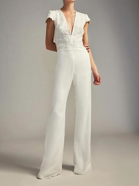 Jumpsuits Wedding Dresses Plunging Neck Floor Length Chiffon Lace Cap Sleeve Country Plus Size_1