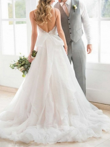 A-Line Wedding Dresses V Neck Sweep \ Brush Train Lace Tulle Spaghetti Strap Romantic Backless_2