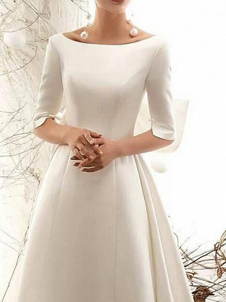 A-Line Wedding Dresses Bateau Neck Court Train Satin Half Sleeve Vintage Illusion Detail Plus Size_1