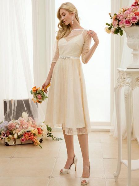 A-Line Wedding Dresses Bateau Neck Knee Length Lace Charmeuse 3\4 Length Sleeve See-Through_3