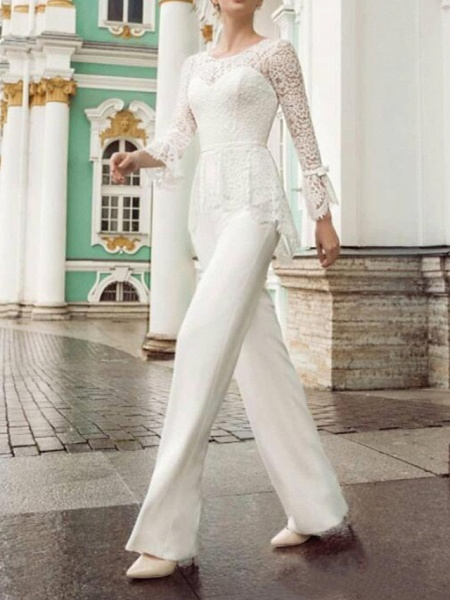 Two Piece Jumpsuits Wedding Dresses Jewel Neck Floor Length Lace Stretch Satin Long Sleeve Country Plus Size_1