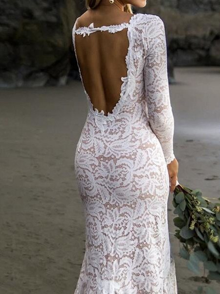 Mermaid \ Trumpet Wedding Dresses V Neck Sweep \ Brush Train Lace Satin Long Sleeve Country Plus Size_2
