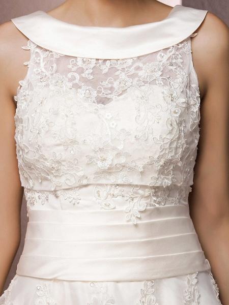 A-Line Wedding Dresses Bateau Neck Tea Length Organza Floral Lace Regular Straps Formal Casual Illusion Detail_7