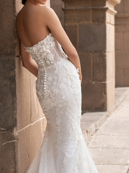 Mermaid \ Trumpet Wedding Dresses Sweetheart Neckline Court Train Lace Strapless Mordern Sparkle & Shine_3