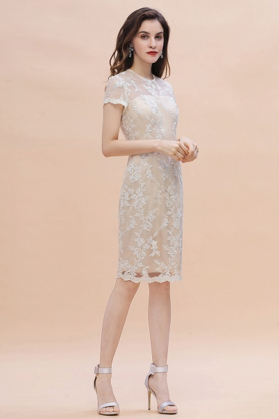 Tulle Lace Beads Belt Short Sleeves Mother of Bride Dress_7