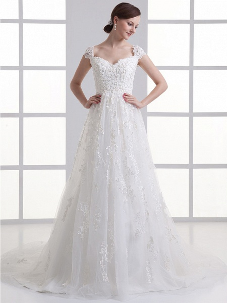 A-Line Sweetheart Neckline Court Train Lace Satin Tulle Cap Sleeve Wedding Dresses_1