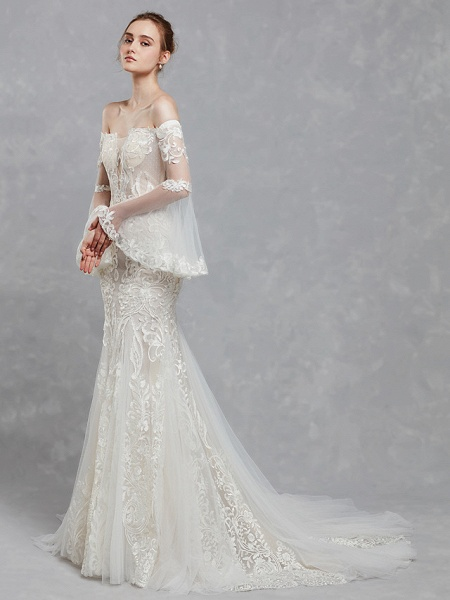 Mermaid \ Trumpet Off Shoulder Court Train Lace Tulle Long Sleeve Romantic Boho See-Through Backless Illusion Sleeve Wedding Dresses_3