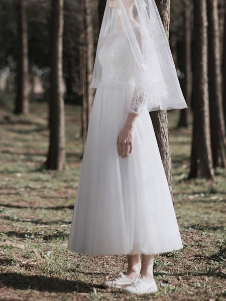 A-Line Wedding Dresses Jewel Neck Ankle Length Lace Tulle Long Sleeve Simple Little White Dress Elegant Illusion Sleeve_3