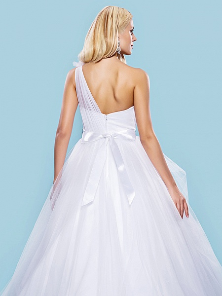 Ball Gown Wedding Dresses One Shoulder Court Train Tulle Sleeveless_6