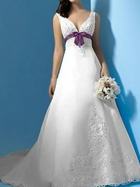 A-Line Plunging Neck Sweep \ Brush Train Polyester Sleeveless Country Plus Size Wedding Dresses_1