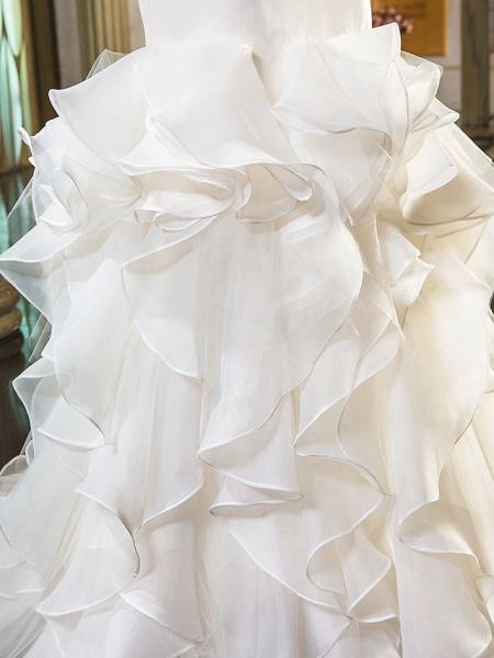 Mermaid \ Trumpet Wedding Dresses Sweetheart Neckline Sweep \ Brush Train Organza Tulle Cap Sleeve Formal Separate Bodies_13