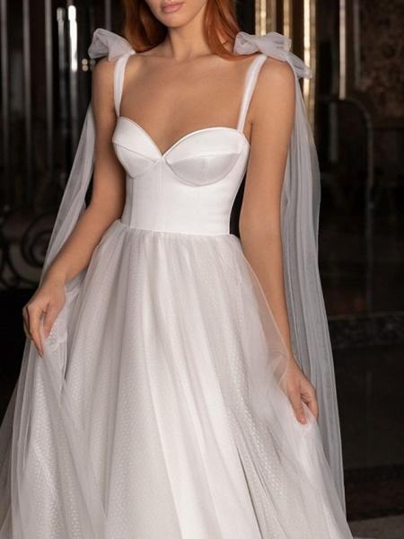 A-Line Wedding Dresses V Neck Spaghetti Strap Sweep \ Brush Train Satin Tulle Sleeveless Simple_2