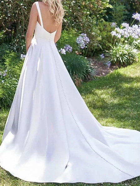 A-Line Wedding Dresses V Neck Court Train Satin Sleeveless Formal Vintage_2