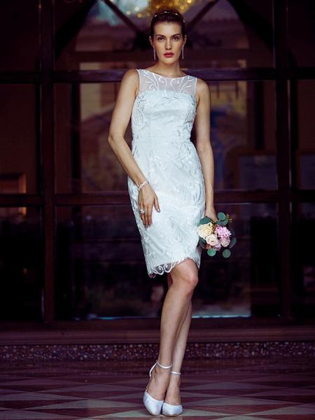 Sheath \ Column Wedding Dresses Bateau Neck Knee Length Metallic Lace Sleeveless Little White Dress See-Through_4