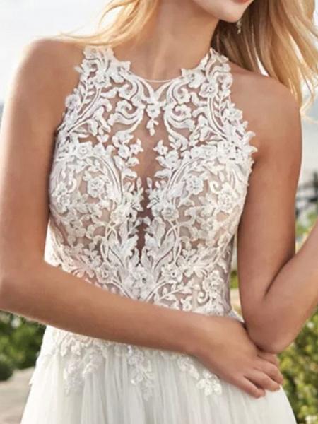 A-Line Wedding Dresses Jewel Neck Sweep \ Brush Train Lace Satin Tulle Sleeveless Beach_3