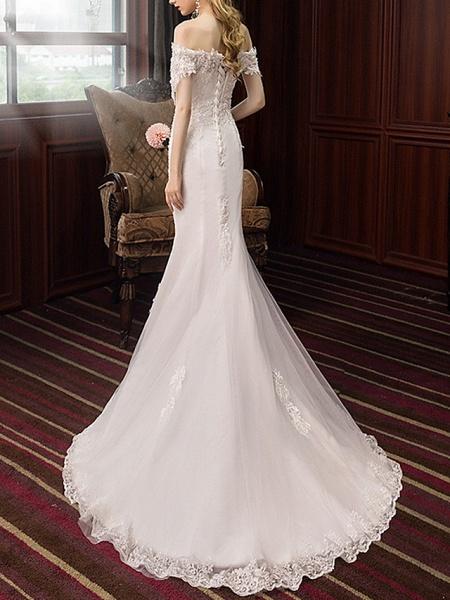 Mermaid \ Trumpet Wedding Dresses Off Shoulder Sweep \ Brush Train Polyester Short Sleeve_4
