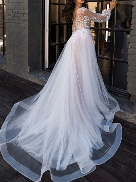 A-Line V Neck Sweep \ Brush Train Lace Tulle Long Sleeve Beach Sexy See-Through Wedding Dresses_2