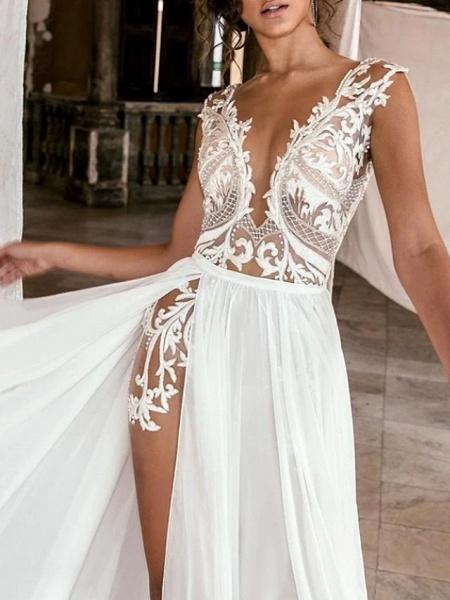 A-Line Wedding Dresses Plunging Neck Sweep \ Brush Train Chiffon Lace Cap Sleeve Beach Boho Sexy See-Through_3