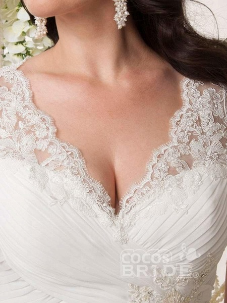 V-neck Cap Sleeves Sweep Train Appliqued Open Back Chiffon Bridal Gown_4