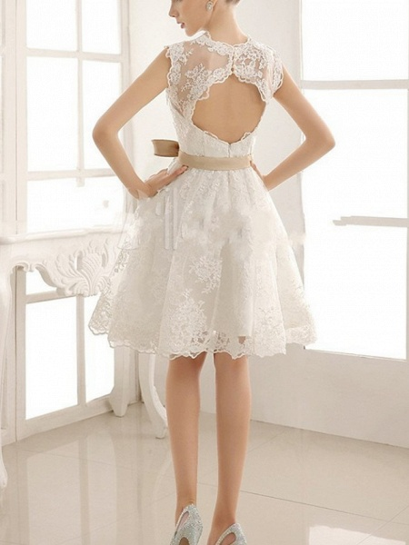 A-Line Wedding Dresses V Neck Knee Length Lace Sleeveless Vintage Little White Dress 1950s_3