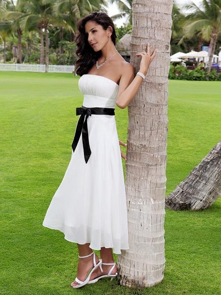 A-Line Wedding Dresses Strapless Tea Length Chiffon Strapless Formal Casual Little White Dress_6