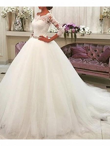 A-Line Wedding Dresses Jewel Neck Sweep \ Brush Train Lace Tulle 3\4 Length Sleeve Formal Illusion Sleeve_1