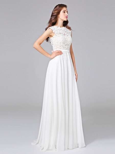 Sheath \ Column Wedding Dresses Bateau Neck Sweep \ Brush Train Chiffon Floral Lace Cap Sleeve Romantic Illusion Detail Backless_3