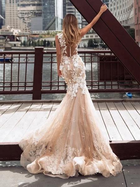 Mermaid \ Trumpet Jewel Neck Chapel Train Lace Tulle Regular Straps Illusion Detail Backless Wedding Dresses_2