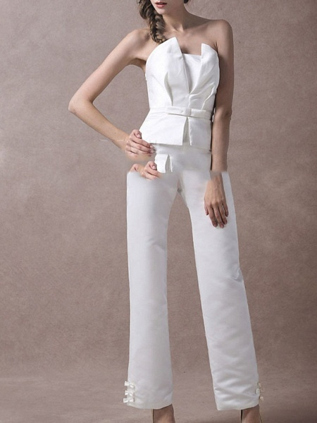 Jumpsuits Wedding Dresses V Neck Floor Length Satin Sleeveless Simple Modern_2