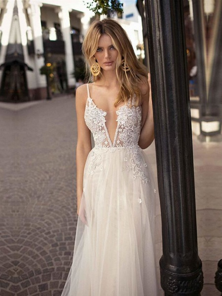 A-Line Wedding Dresses V Neck Court Train Lace Tulle Spaghetti Strap Beach Boho See-Through Backless_2