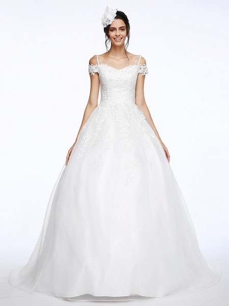 Ball Gown Wedding Dresses Off Shoulder Court Train Organza Beaded Lace Short Sleeve_4