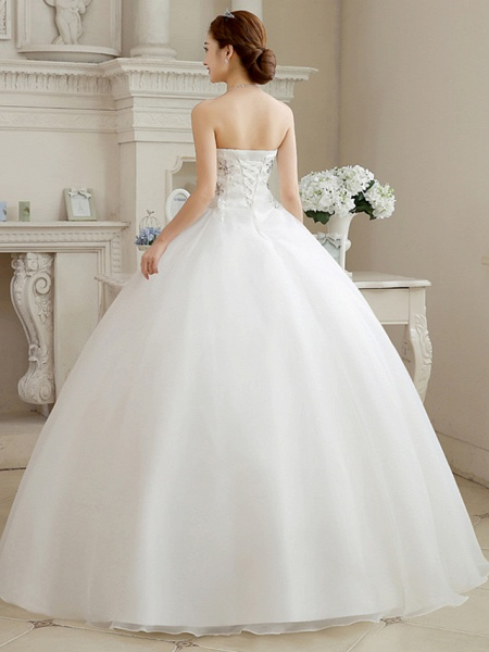 Ball Gown Wedding Dresses Sweetheart Neckline Floor Length Organza Strapless Glamorous Sparkle & Shine_2