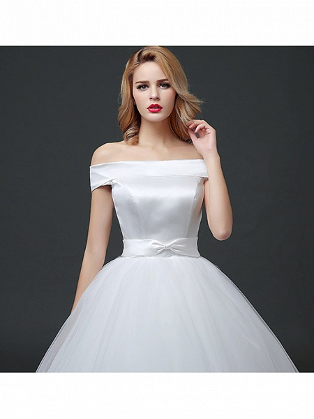 Ball Gown Wedding Dresses Off Shoulder Floor Length Lace Tulle Polyester Cap Sleeve Formal_4