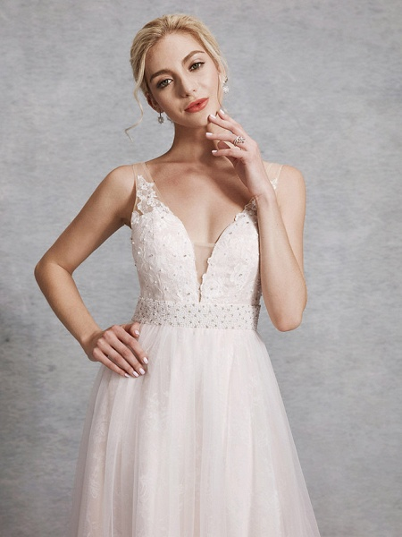 A-Line Wedding Dresses V Neck Floor Length Lace Satin Tulle Regular Straps_4