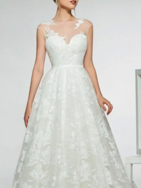 Mermaid \ Trumpet Wedding Dresses Jewel Neck Sweep \ Brush Train Lace Tulle Stretch Satin Cap Sleeve Country See-Through Backless_3