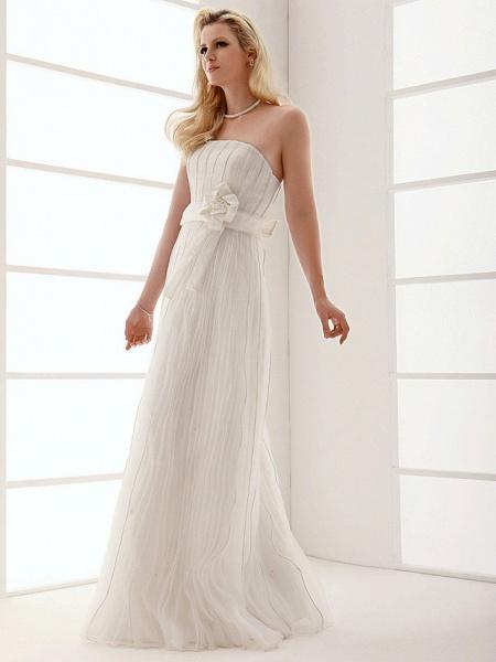 Sheath \ Column Wedding Dresses Strapless Floor Length Organza Sleeveless_8
