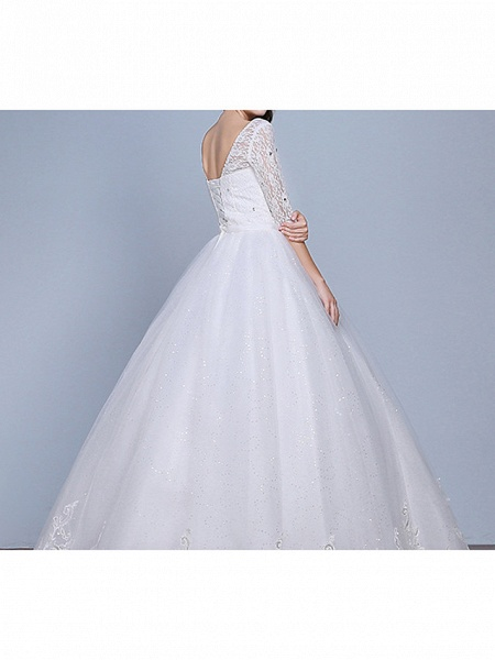 Ball Gown Wedding Dresses Scoop Neck Floor Length Lace Tulle Polyester Half Sleeve Romantic_6