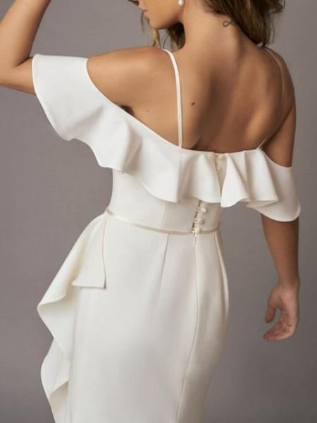 A-Line Wedding Dresses Off Shoulder Sweep \ Brush Train Chiffon Over Satin Short Sleeve Simple_3